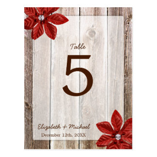 Poinsettia Rustic Barn Wood Wedding Table Number Postcards