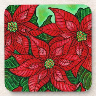 Poinsettia Season Coasters - Pack of 6