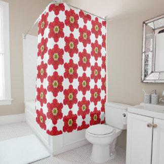 Poinsettia Snowflake Shower Curtain