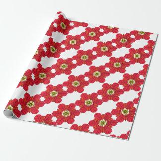 Poinsettia Snowflake Wrapping Paper