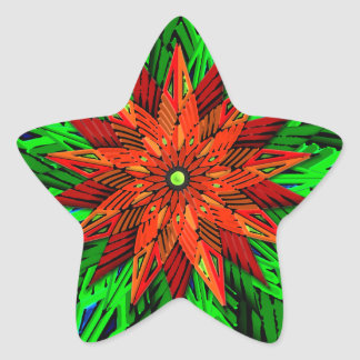 Poinsettia (Star Shape Stickers) Star Sticker