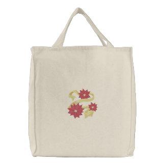 Poinsettia Trio Embroidered Bag