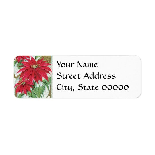 Poinsettia Vintage Christmas Card Return Address Label