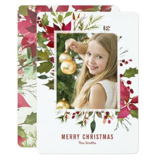 Poinsettia Watercolor Christmas Card