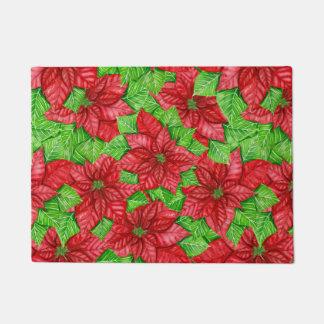 Poinsettia watercolor Christmas pattern Doormat