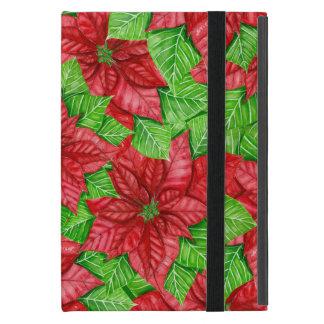 Poinsettia watercolor Christmas pattern iPad Mini Case