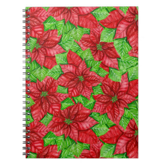 Poinsettia watercolor Christmas pattern Notebooks
