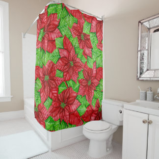 Poinsettia watercolor Christmas pattern Shower Curtain