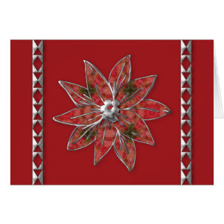 poinsettia  with a fabric look and silver trim greeting card