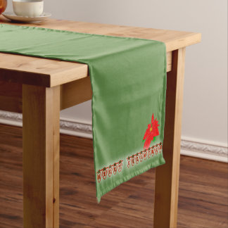Poinsettia with text in Christmas Lights Short Table Runner