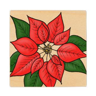 Poinsettia Wood Coaster