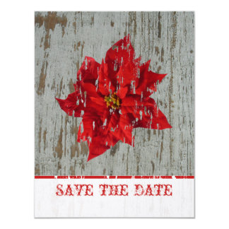 Poinsettia & Wood Save The Date Winter Wedding Card
