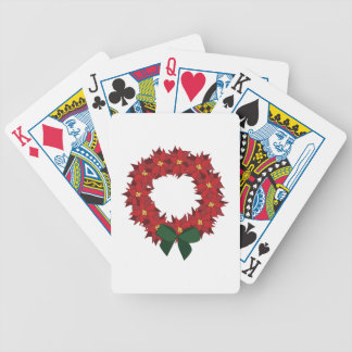 Poinsettia Wreath Bicycle Playing Cards