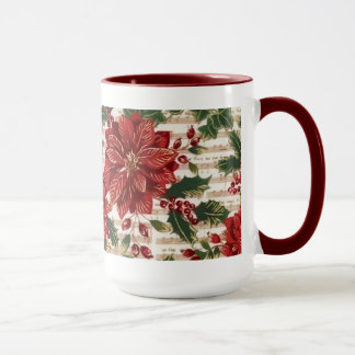 Poinsettias and Music Christmas Mug