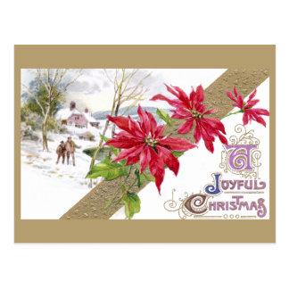Poinsettias and Shivery Vignette Vintage Christmas Postcard