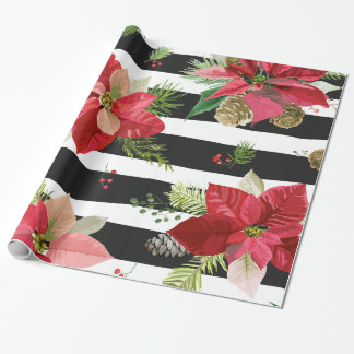 Poinsettias, Black Striped Wrapping Paper