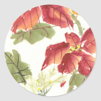 Poinsettias Classic Round Sticker
