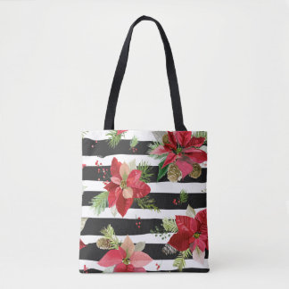 Poinsettias on Black, White Stripes Tote Bag