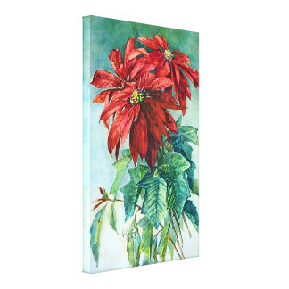 Poinsettias Vintage Art Wrapped Canvas