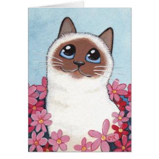 Pointed Birman Cat & Flowers - Cat Art Blank Card