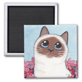 Pointed Birman Cat & Flowers - Cat Art Magnet
