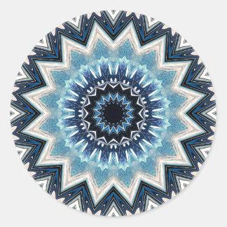 Pointed Blue Mandala Round Sticker