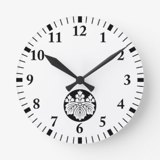 Pointed-leaf Paulownia with 53 blooms in rice cake Wall Clock