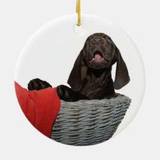 Pointer Sister in a basket Ceramic Ornament