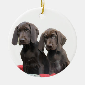 Pointer Sisters in a basket Round Ceramic Decoration