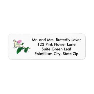 Pointillism Butterfly Flower Address Labels