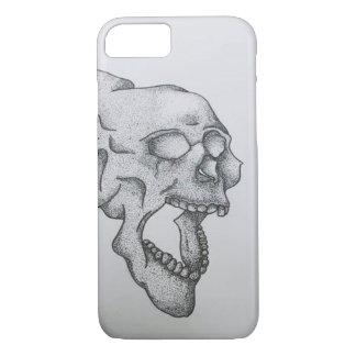 Pointillist style skull phone case