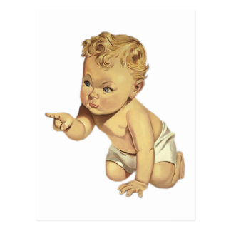 Pointing Baby Postcard