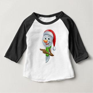 Pointing Cartoon Christmas Santa Hat Snowman Baby T-Shirt