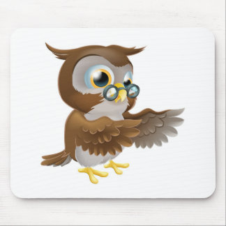 Pointing Cute Cartoon Owl Mousemats