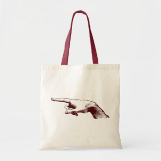 pointing finger tote bag