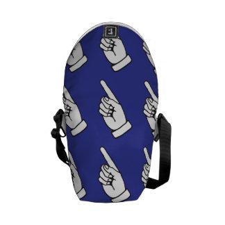 pointing finger blue messenger bag
