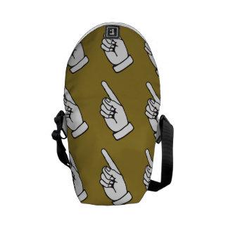 pointing finger brown messenger bag