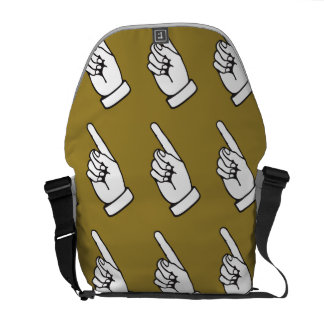 pointing finger brown courier bags