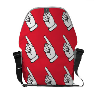 pointing finger red messenger bags