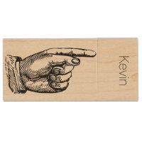 Pointing Finger Wooden USB Drive
