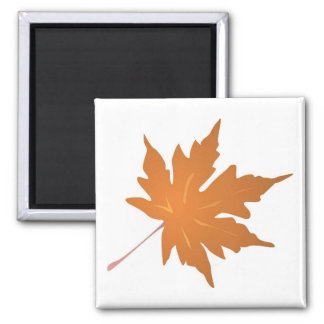 Pointy Brown Maple Leaf Square Magnet