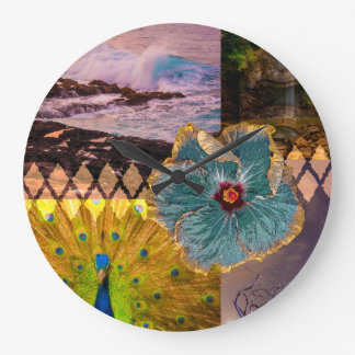Poipu Sunrise, Kauai Hawaiian Collage Large Clock