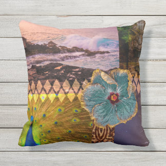 Poipu Sunrise, Kauai Hawaiian Collage Reversible Outdoor Cushion