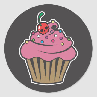 Poison Cherry Cupcake Classic Round Sticker
