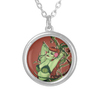 Poison Ivy Bombshell Round Pendant Necklace