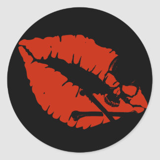 poison lips classic round sticker