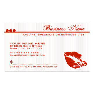 poison lips gift certificate business card templates