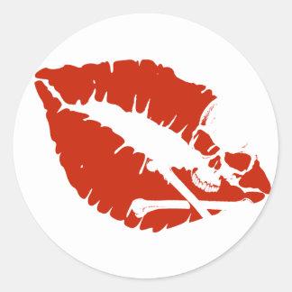 poison lips round sticker