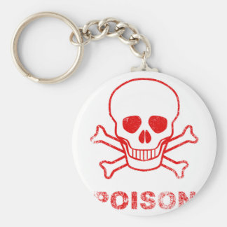 Poison Red Ink Stamp Basic Round Button Key Ring
