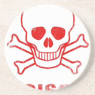 Poison Red Ink Stamp Beverage Coasters